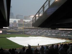 Rain delay at Target Field