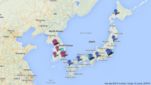 Map of NPB Stadiums