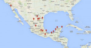 Map of Mexican Baseball League (LMB) Teams